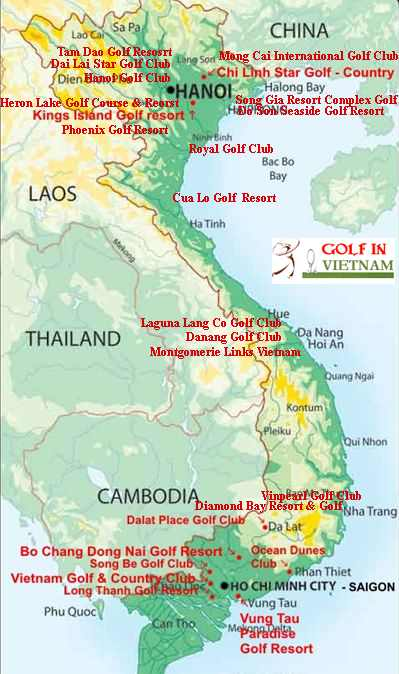 Vietnam Golf Map Vietnam Golf Courses Map Golf Vietnam